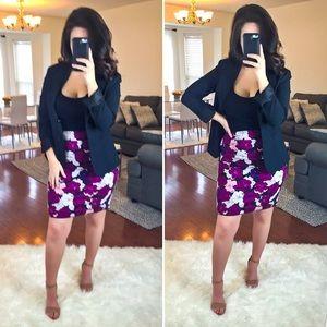 LOFT Purple Floral Full Skirt